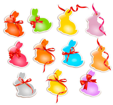 Decorative easter rabbits  Easter cards with red bow and ribbons   Vector