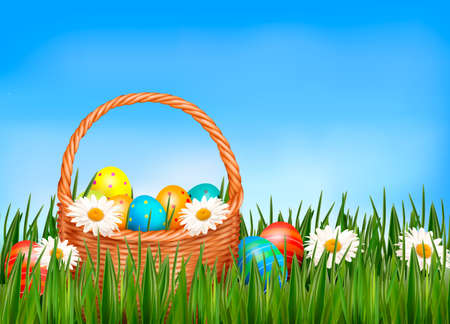 Easter background  Easter eggs and flower with basket in the grass Stock Vector - 18252376