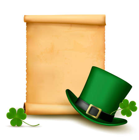 Background with St. Patrick's Day hat with clover. Stock Vector - 18252332