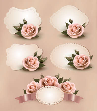 Collection of retro greeting cards with pink rose. Vector