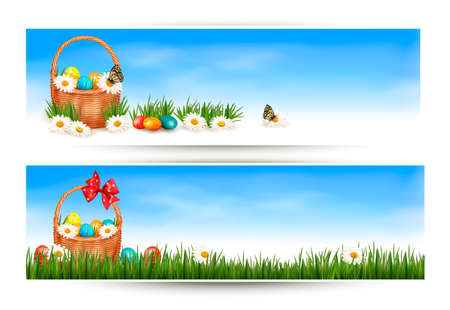 easter basket: Easter banners with Easter eggs in basket and flowers.