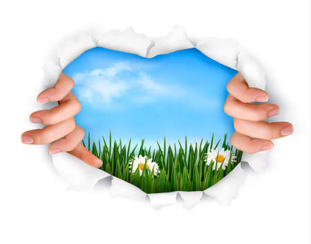 Nature background with hands ripping a paper Vector