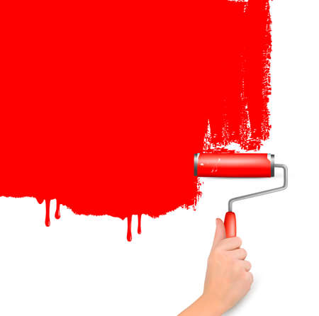 painting and decorating: Red roller painting the white wall  Background