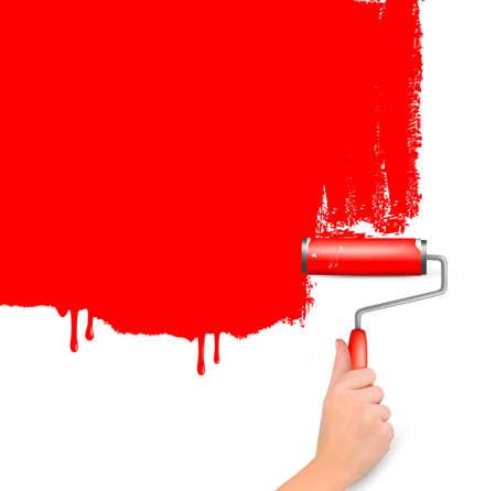 stone work: Rodillo rojo pintar la pared de fondo blanco