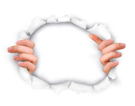 penetracion: Fondo con las manos que muestran a través de un agujero en papel ilustración blanco