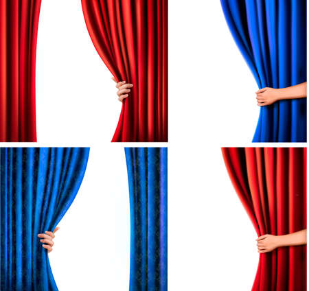 telon de teatro: Conjunto de fondos con la cortina de terciopelo rojo y azul y la ilustración mano Vectores