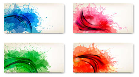 splash paint: Abstract banners with watercolor splashes