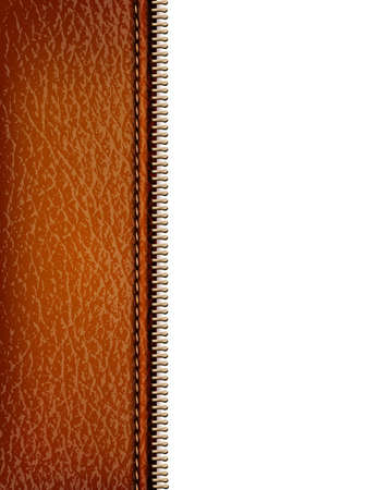 leather background: Brown leather texture background with zipper. Vector illustration Illustration