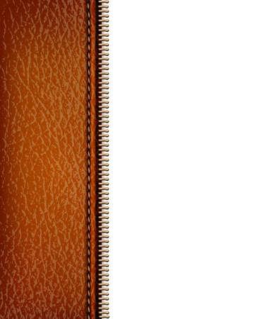 texture cuir marron: Brown texture de fond en cuir avec fermeture � glissi�re. Vector illustration