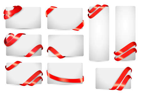 Set of gift card notes with red ribbons. Vector illustration. Vector
