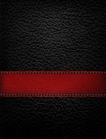 suede: Black leather background with red leather strip. Vector illustration.