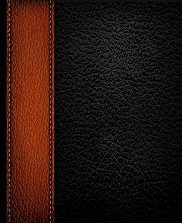 bumpy: Black leather background with brown leather strip. Vector illustration. Illustration