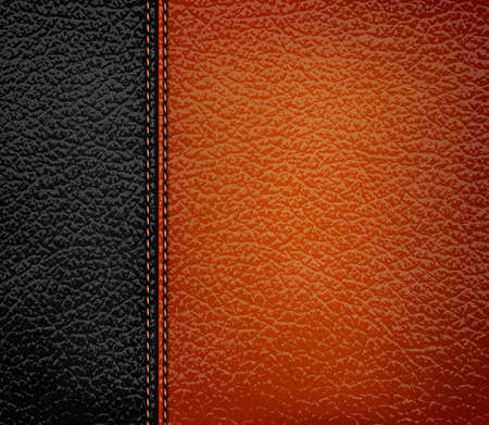 textured effect: Black leather background with brown leather strip. Vector illustration. Illustration