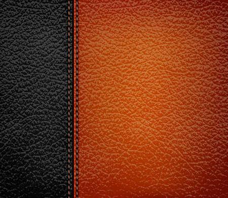 Fond de cuir noir avec bande de cuir brun. Vector illustration. Vecteurs