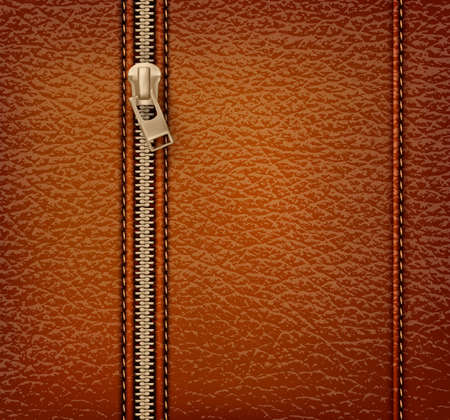 zip: Brown leather texture background with zipper. Vector illustration Illustration