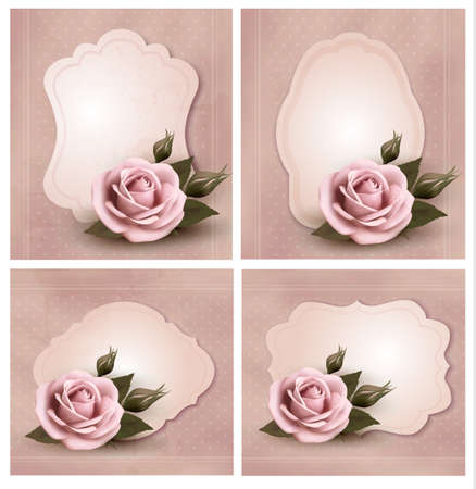 pink ribbons: Collection of retro greeting cards with pink roses. Vector illustration