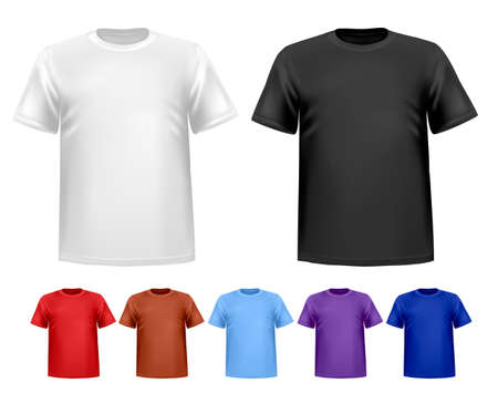 tshirt: Black and white and color men polo t-shirts. Design template. Vector  Illustration