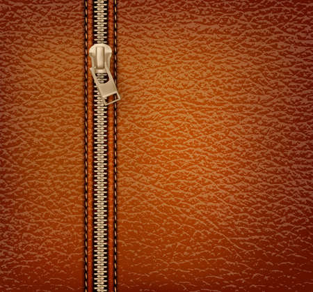 hem: Brown leather texture background with zipper. Vector illustration Illustration