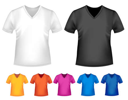 Black and white and color men polo t-shirts. Design template. Vector Stock Vector - 18959957