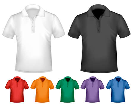 dress size: Black and white and color men polo t-shirts. Design template. Vector  Illustration