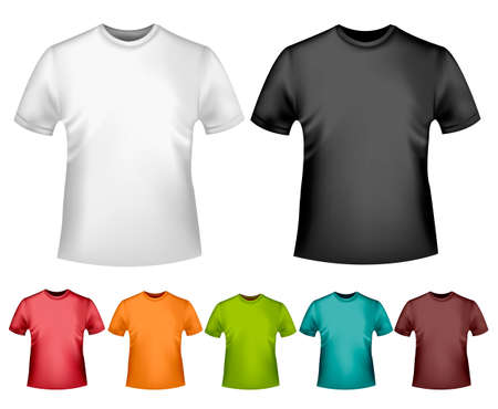 Black and white and color men polo t-shirts. Design template. Vector Stock Vector - 18959955