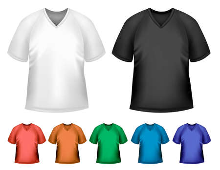 Black and white and color men polo t-shirts. Design template. Vector  Stock Vector - 18959961