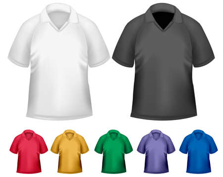 Black and white and color men polo t-shirts. Design template. Vector Stock Vector - 18959963