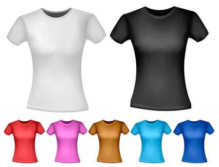 Black and white and color woman polo t-shirts. Design template. Vector  Stock Vector - 18959956
