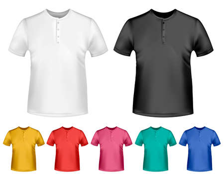 Black and white and color men polo t-shirts. Design template. Vector  Stock Vector - 18959965