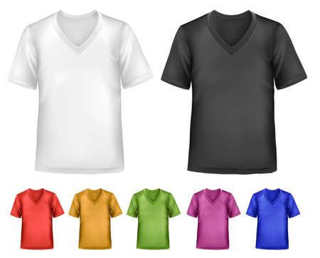 Black and white and color men polo t-shirts. Design template. Vector  Stock Vector - 18959964