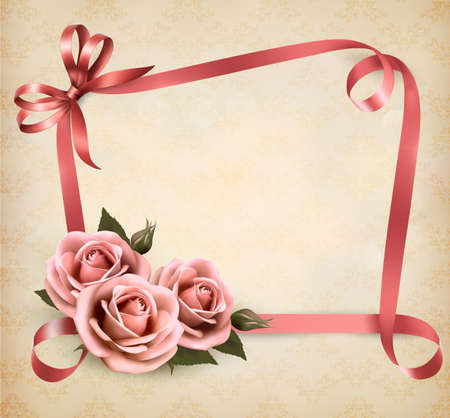 green frame: Retro holiday background with pink roses and ribbons. Vector illustration.