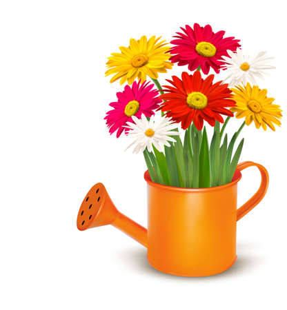 regando el jardin: Coloridas flores de primavera frescas en riego naranja puede. Ilustraci�n vectorial