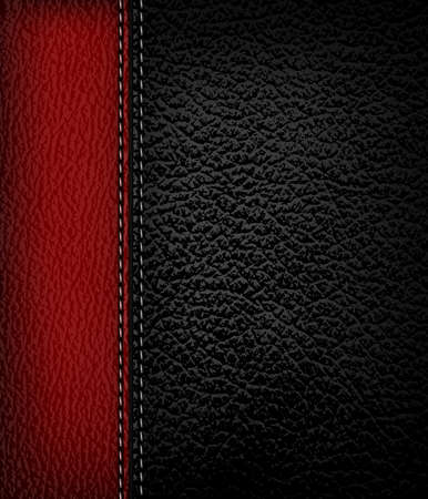 leather stitch: Black leather background with red leather strip. Vector illustration.