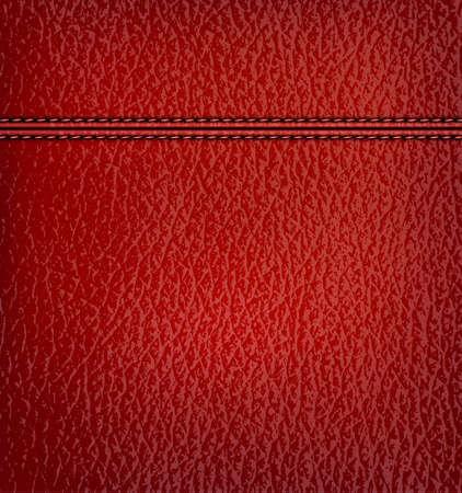 flexible business: Red leather background with red leather strip. Vector illustration.
