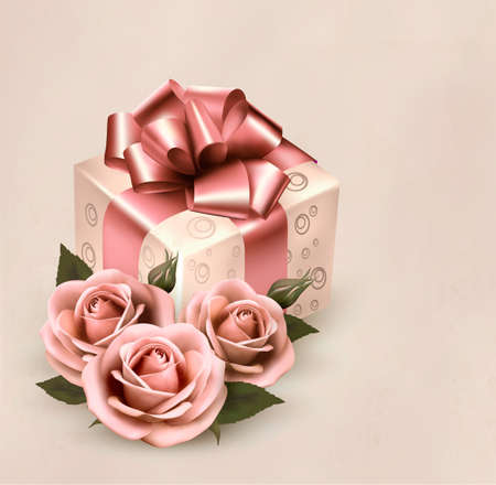 decoratio: Holiday retro background with pink roses and gift box. Vector illustration Illustration