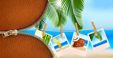 Background with photos from holidays on a seaside. Summer holidays concept. Vector Stock Vector - 18960047