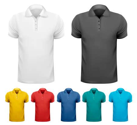ポロ: 黒と白と色の男性 t シャツ。デザイン テンプレートです。ベクトル イラスト