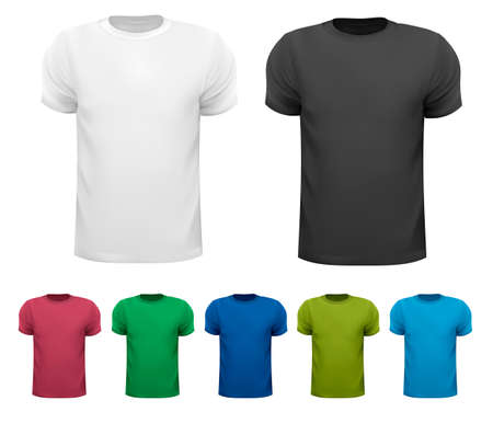 shirt template: Black and white and color men polo shirts. Design template. Vector illustration Illustration