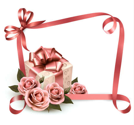 Retro holiday background with pink roses and gift box. Vector illustration. Stock Vector - 19240177