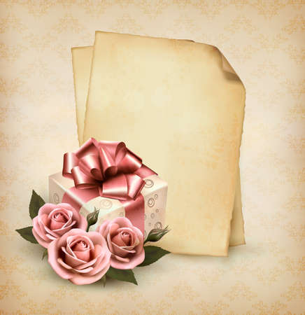 Retro holiday background with pink roses and gift box and old paper. Vector illustration.  Illustration