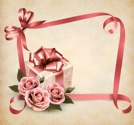 decoratio: Retro holiday background with pink roses and gift box. Vector illustration.
