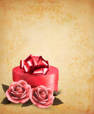 Retro background with beautiful red roses and gift box. Vector illustration.  Stock Vector - 19240179