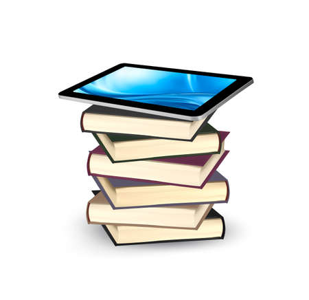 Tablet on a stock of books. E-book capacity concept. Vector. Vector