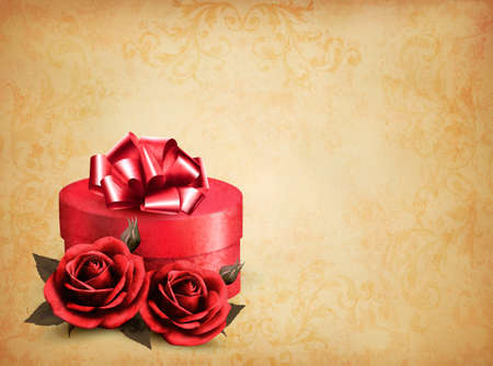 Retro background with beautiful red roses and gift box. Vector illustration.  Vector