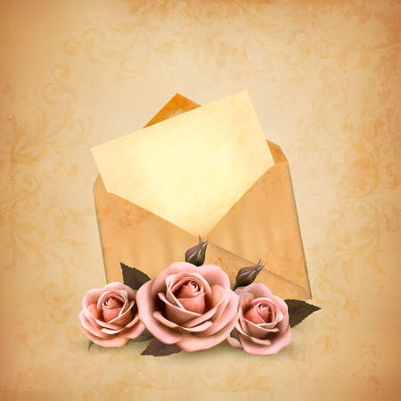 pink rose petals: Three roses in front of an old envelope with a letter. Love letter concept. Vector. Illustration