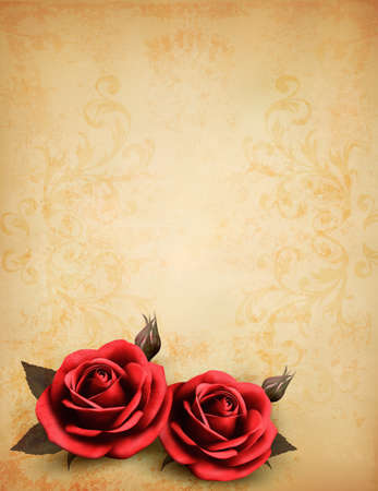 petals: Retro background with beautiful red roses with buds. Vector illustration.  Illustration