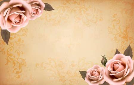 beige stof: Retro achtergrond met mooie roze rozen in knop. Vector illustratie. Stock Illustratie