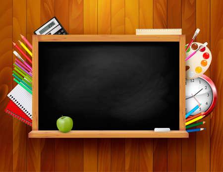 Blackboard with school supplies on wooden background illustration
