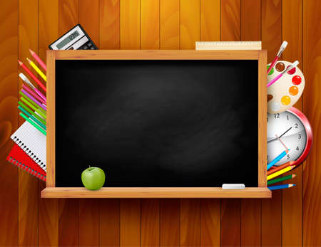 Blackboard with school supplies on wooden background illustration   Vector