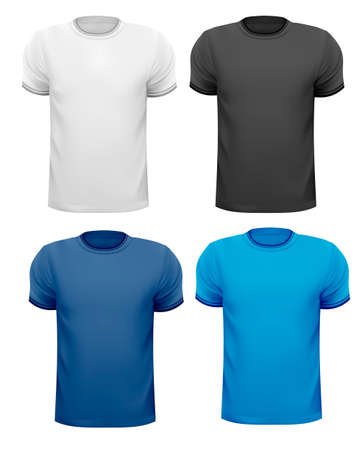 short sleeve: Black and white and color men t-shirts  Design template  Vector Illustration